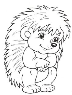 Hedgehog Coloring Page Animal Coloring Pages, Coloring Book Pages, Coloring Sheets, Hedgehog Craft, Mandala Coloring, Applique Patterns, Coloring Pages For Kids, Fall Crafts, Kids Crafts