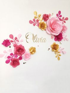 Vivero flores flores de papel sobre las cunas colgante