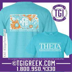 TGI Greek - Kappa Alpha Theta - Sorority PR - Comfort Colors - Flowers - Greek T-shirts - Theta - Greek Apparel - Kansas State University