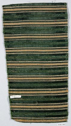Piece Date: century Culture: Italian Medium: Silk with metal thread Dimensions: L. 9 inches x cm) Classification: Textiles-Velvets Credit Line: Gift of The United Piece Dye Works, 1936 Accession Number: