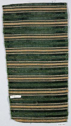 Piece  Date: 16th century Culture: Italian Medium: Silk with metal thread Dimensions: L. 16 3/4 x W. 9 inches (42.5 x 22.9 cm) Classification: Textiles-Velvets