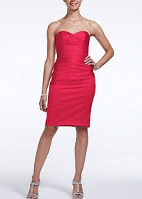 Your bridesmaids will make a captivating entrance in this beautiful dress!  Strapless bodice with charming sweetheart neckline that beautifully frames the face.  All over pleatedstretch satingives you an elegant and well defined look.  Fully lined. Back zip. Imported polyester. Dry clean.  Available in limited stores.  To protect your dress, try our Non Woven Garment Bag.