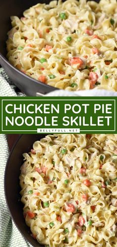 Grab your leftover cooked chicken for this busy weeknight meal! This quick and easy recipe for your family transforms a classic into a delicious skillet dish. Find yourselves becoming obsessed with this chicken pot pie with noodles instead of a crust! Save this pin! Easy Chicken Pot Pie, Chicken Skillet Recipes, How To Cook Chicken, Chicken Pot Pie With Noodles Recipe, Easy Pot Pie Recipe, Cooked Chicken Recipes Leftovers, Chicken Pot Pie Casserole, Pasta Dishes, Food Dishes