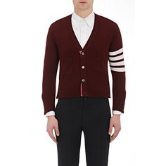 Thom Browne Men's Varsity Cardigan Size 1 (S) ($1,750) ❤ liked on Polyvore featuring men's fashion, men's clothing, men's sweaters, red, mens vneck sweater, mens button down cardigan sweaters, mens red v neck sweater, men's v neck sweater and mens red sweater