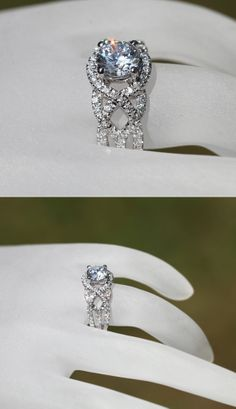 TWIST OF FATE - 14k White gold - Diamond Engagement Ring - Halo - Unique - Swirl - Pave - Bp024 on Wanelo