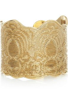 Pretty @YSL gold-plated lace-effect cuff available @NETAPORTER. Perfect for nights out. ~