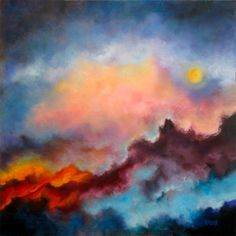 Fire On The Mountain, Abstract Acrylic Landscape Painting, by Marina Petro, painting by artist Marina Petro