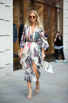 Prints in street style. London Fashion Week Spring 2015. #LFW #Burberry