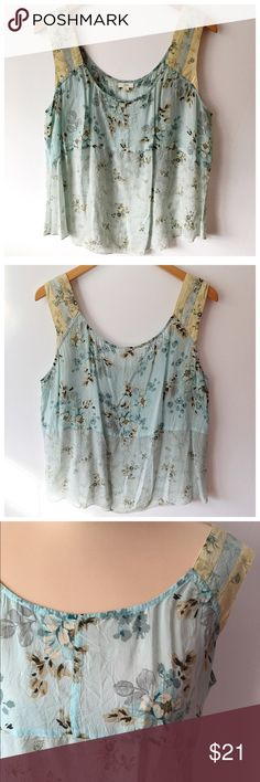 • J. JILL • Feminine print tank from J. Jill in a blue/green and cream toned floral print with contrasting pattern at shoulders. Light and airy fabric is 100% rayon. J. Jill Tops Tank Tops