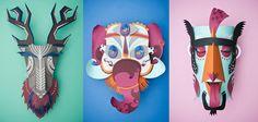 Ensemble des masques en paper art design pour le projet Graphical Carnaval 2
