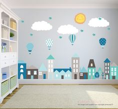 Great room decor - City Wall Decals Wall Decals Nursery Baby Wall by BebeDivaBoutique Nursery Wall Stickers, Kids Wall Decals, Nursery Wall Decals, Wall Murals, Wall Art, Ideas Dormitorios, Room Wall Painting, Balloon Wall, Air Balloon
