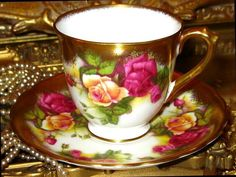 ROYAL CHELSEA GOLDEN ROSE Demi FOOTED Gold TEA CUP & SAUCER