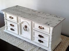$105. Vintage jewelry box, hand painted in French Court white with Premiere French Script fabric decoupaged top