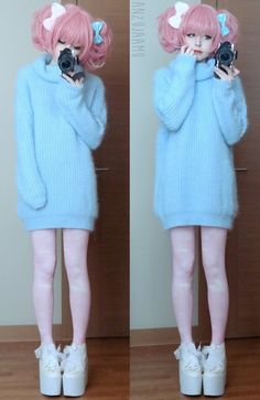 #dress #sweater #fuzzy #Kawaai