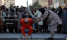 The pictures from the Raqqa murder shows a man sitting on a chair in a town square, surrounded by a crowd of men and boys, some who appear to be little older than seven or eight.