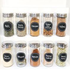 Simple spice jars, NEAT labels for this NEAT St. Louis client. NEAT Method- kitchens, kitchen design, kitchen inspiration, pantry ideas, kitchen storage, kitchen cabinets, modern kitchens, kitchen ideas, kitchen organization, organization, design ideas, best recipes, recipe ideas