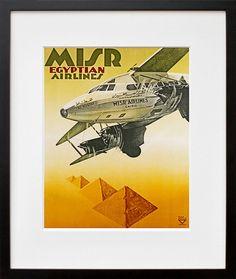 Art Egypt Travel Poster Egyptian Vintage Print by Blivingstons, $8.99