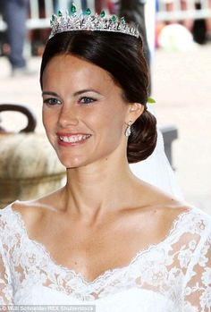 Princess Sofia wore a diamond and emerald encrusted tiara...