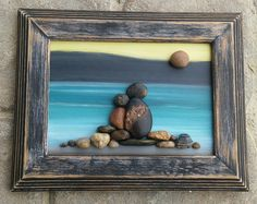"Pebble Art Couple in the outdoors surrounded by the mountains and water under a sun in a 5x7 ""open"" wood frame by CrawfordBunch on Etsy"