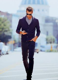MEN'S STYLE: A great cardigan makes a perfect everyday look.    #mensfashion #style #cardigan #everyday