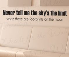 Never Tell Me Skys Limit Footprints on Moon  Office Inspirational Motivational Achievement Success Kids  Large Wall Decal Saying Adhesive Vinyl Lettering Decoration Quote Sticker Art Mural Letters Decor *** Read more  at the image link. (Note:Amazon affiliate link)
