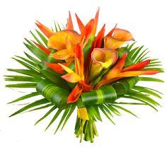 Eldorado Bouquet de Mariée. Un bouquet de Mariée aux fleurs exotiques, Callas et Héliconias, pour un mariage exotique. Fleurs Lointaines