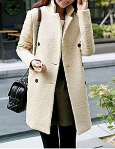 Manteau Aux femmes,Couleur Pleine Décontracté / Quotidien simple Manches Longues…