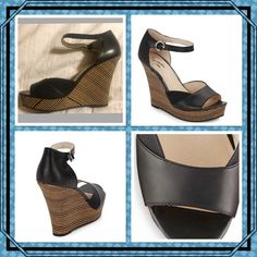 """Seychelles Make It Snappy Embossed Leather Wedges Seychelles Leather Wedges from Sacs Off 5th are detailed with embossed panels and striped corked wedges. Leather upper, open toe, adjustable ankle strap and lightly padded insole. Cork wedge measures 4.75"""", hidden platform measures 1"""" comparable to a 3.75"""" heel. NIB. Size 8 1/2. Seychelles Shoes Wedges"""
