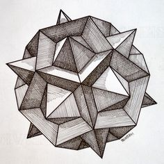 #regolo54 #solid #polyhedra #star #pentagon #geometry #symmetry #pattern #pencil #handmade #mathart #Escher #mandala #structure