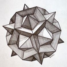 #regolo54 #solid #polyhedra #star #pentagon #geometry #symmetry #pattern #pencil #handmade #mathart #Escher #mandala #structure Geometric Drawing, Geometric Mandala, Mandala Drawing, Geometric Designs, Geometric Shapes, Op Art, Platonic Solid, Sacred Geometry Art, Polygon Art