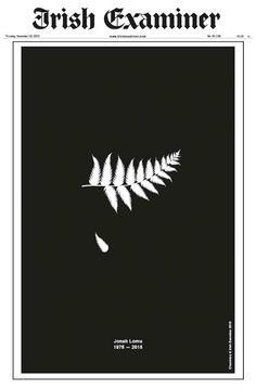 The Irish Examiner's graphic tribute to rugby legend Jonah Lomu won the top accolade at the prestigious Institute of Creative Advertising and Design (ICAD) Awards in Dublin last night. Rugby League, Rugby Players, Jonah Lomu, Dan Carter, All Blacks Rugby, Herald News, New Zealand Rugby, Great Ads, Rugby World Cup