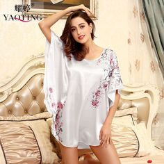 9a389c4213f RB025 Summer silk ladies plus size sleepwear women s nightdresses  comfortable satin silk nightgowns floral nightshirts Maternity