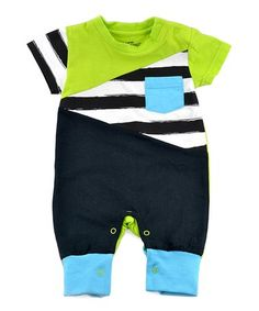Another great find on #zulily! Black & Lime Stripe Color Block Romper - Infant #zulilyfinds