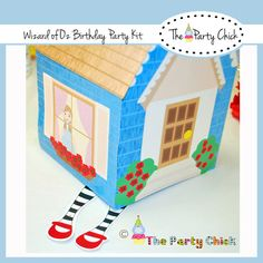 Printable Dorthy's House'  Center Piece , Treat box,  INSTANT DOWNLOAD,   Co ordinates with,  Wizard Of OZ kit, 4  patterns. $4.00, via Etsy.