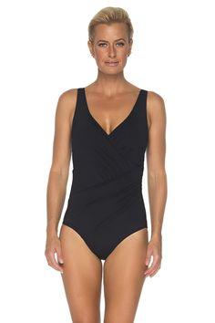 3 Way Surplice Black Swimsuit, Swimsuits, Swimwear, Bodysuit, One Piece, Women Bikini, Slim, Lady, Crossover