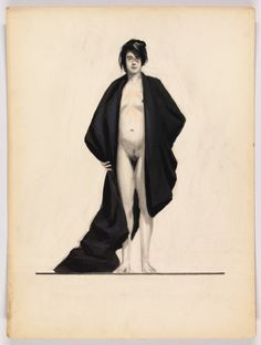 Edward Hopper (1882-1967) Standing Female Nude with Black Drape c. 1917-20 Opaque watercolor and graphite pencil on board 20 × 15 in. (50.8 × 38.1 cm)