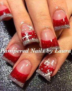 French Nails Glitter, Fancy Nails, Love Nails, Holiday Nail Art, Christmas Nail Art Designs, Winter Nail Designs, Xmas Nails, Christmas Nails, Christmas Duck