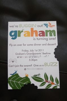 "This is a great invitation idea, to ""bite"" out pieces to look like a bug was eating it."