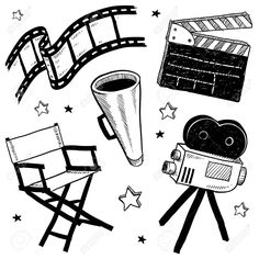 Doodle style movie set equipment sketch in vector format. Set includes clapperboard, director's chair, megaphone, film strip, and camera. Movie Reels, Film Reels, Film Movie, Movies, Camera Sketches, Camera Drawing, Camera Doodle, Deco Cinema, Kino Box