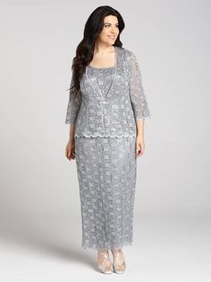 Laura Plus: for women size 14 . Look and feel your best at any formal event this Summer with this silver lace two-piece gown and jacket set. The rhinestone closure on the 3/4-sleeve jacket adds the perfect touch of sparkle to this lovely se...5010103-0396