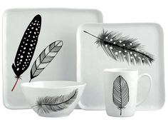 Margaret Berg Art: Black & White Feathers Dinnerware