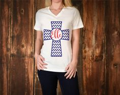 Monogrammed Chevron Print Cross tshirt, personalized chevron tee shirt, Christian gift, monogram t-shirt for teens, Personal Graduation gift by RTribeCreations on Etsy