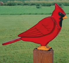 3D Giant Cardinal Woodcraft Pattern Decorate your favorite yard or garden spot with this gigantic version of a North American favorite. #diy #woodcraftpatterns