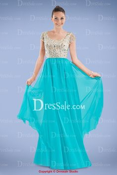 Beautiful Two-toned Prom Dress Featuring Shimmered Jeweled Bodice and Chiffon Skirt