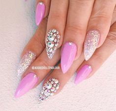 Soft pink acrylic gel nails