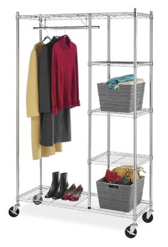 Whitmor 6058 4320 BB Commercial Grade Collection Supreme Rolling Garment Rack With Shelves