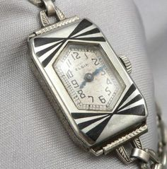 Lady Elgin Art Deco Enamel Watch - I have one like this but it doesn't work