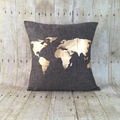 Free Shipping metallic gold World Map pillow with by HomeGlow