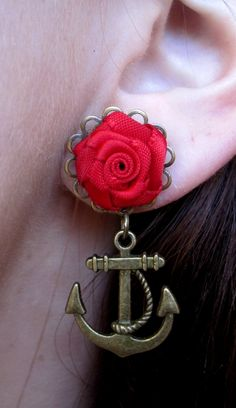 Pair of Red Satin Rosette Plugs with Anchor Nautical Charms - Handmade Girly Gauges - 0g, 00g, 7/16, 1/2. 9/16, 5/8, 3/4. $25.00, via Etsy.