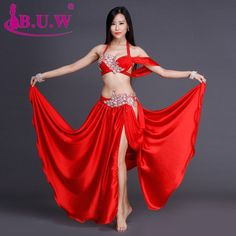 Dmart7dealBellydance gypsy belly dance skirt Indian gypsy dance practice performance blue/red/white dress set 2 pcs(bra+skirt)